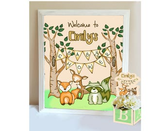 Woodland Creatures Baby Shower Welcome Sign