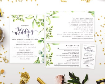 Wedding Invitation Suite with Neutrals & Greenery