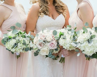 Hydrangea and Eucalyptus bridesmaids bouquets