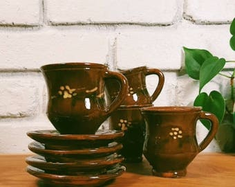 Mexican Pottery / Demitasse Cups + Saucers / Set of 4