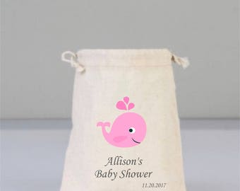 Personalized Baby Shower Bags with Pink Whale, Baby Shower Decorations,  Baby Shower Party, Girl Baby Shower, Cotton Bag Drawstring