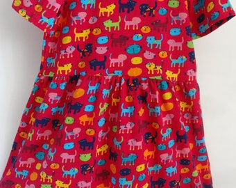 Girls Red Cat Jersey Dress Age 4-5 Years