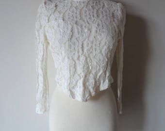 Vintage 80s cream lace top from Biba // victorian style