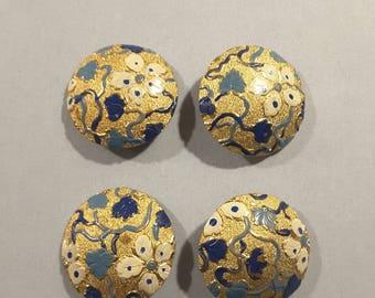 Vintage set of 4 cold enamel buttons - 1950's.