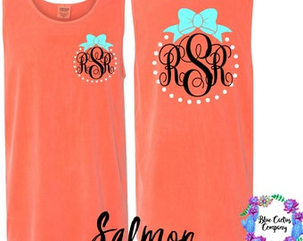 Comfort Color Monogram custom tank with bow - Salmon - custom gift - monogram gift - college gift - graduation gift - back to school - gift