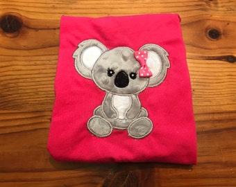 Girls Koala bear Shirt, Minky Koala,