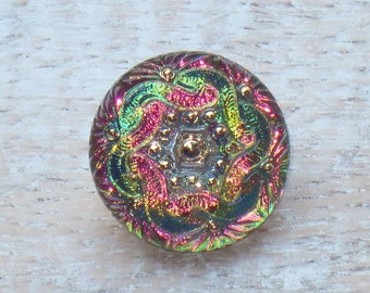 18mm Czech Glass Mandala Button Pink, Green, Yellow Iridescent Button