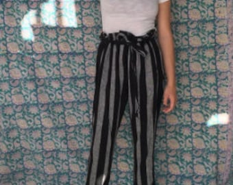 Tie waist stripped pant