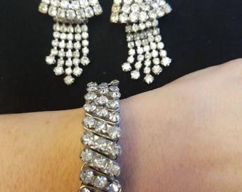 Vintage Rhinestone Drop Clip On Earrings and Matching Bracelet
