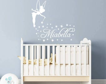 Exceptionnel Tinkerbell Wall Decal Girls Name. Magic Little Princess Girl Wall Vinyl  Sticker Nursery Personalized Name