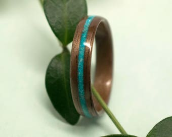 Walnut Bentwood Ring with Turquoise Inlay