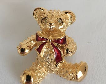 Avon Teddy Bear Pin, Red Bow, Gold Tone, Vintage, 1980s