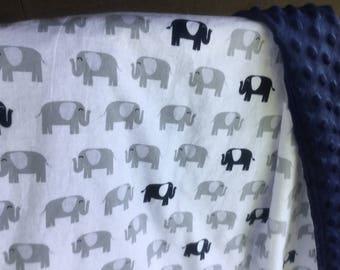 Elephant baby Blanket-Elephant Nursery-Blue Elephant Blanket - Zoo Nursery - safari nursery- Boy Elephant Blanket - Boy Baby blanket
