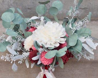 Bouquet with Eucalyptus, Sola Bridal Bouquet, Valentines Bouquet, Romantic Flower Bouquet, Unique Sola Bouquet, Bridal Bouquet, Greenery