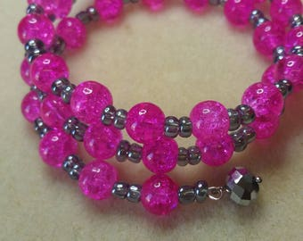 Bright pink bracelet, memory wire, ladies bracelet