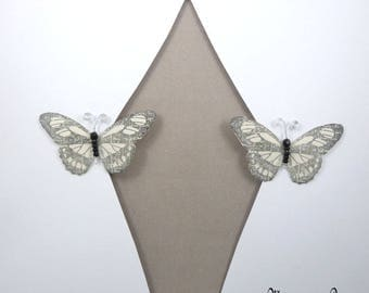 Curtain sheers 1512 ref white silk Butterfly clips