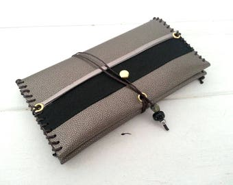 """""""Limited Edition #1"""" tobacco in silvery grey faux leather and black ribbon"""