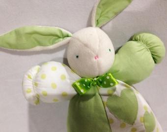 Green and white Bunny rabbit plush toy