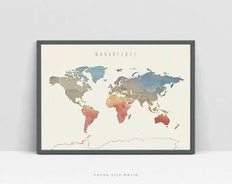 Watercolor World Map Etsy - Downloadable us map without state names