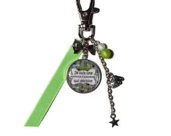 """Keychain / bag charm gift AUTO school instructor """"I'm a driving instructor who rocks"""""""