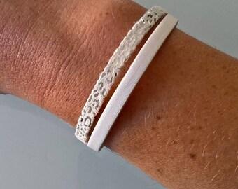 White genuine leather double bracelet