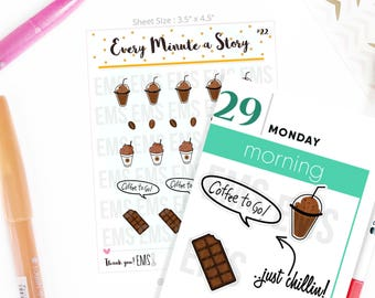 Coffee mocha frappe drink shakes planner Stickers smoothies, summer planner For Erin Condren, Plum Paper, Happy, Mambi, or Inkwell Press S22