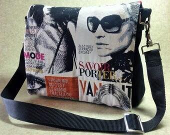 """Messenger bag, Shoulder bag, Crossover bag, Satchel, printed cotton fabric """"Fashion magazines"""""""