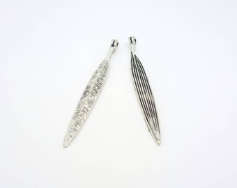 56 * 6mm 2 pendants long leaf spirit ethnic silverplate (CLBA21)