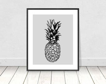 Pineapple Print, Pineapple Wall Art, Printable Art, Pineapple Poster, Pineapple Decor, Tropical Decor, Pineapple Drawing, Kitchen Wall Art