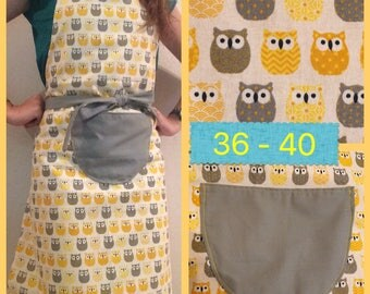 Apron kitchen reversible grey, yellow and OWL motif