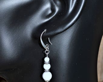Silver plated ear hook and white jade / pure Jade / stone of modesty and peace / women gift