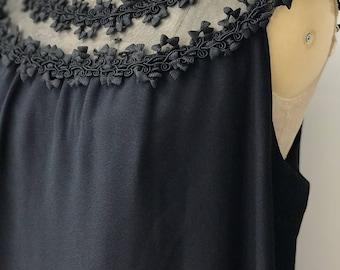 Beautiful 1960's Lace Detail Dress / Black Dress / Mini Dress