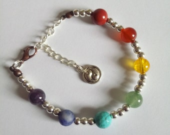 Chakra Stones bracelet with Yin and Yang and Copper