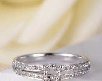 Unique Engagement Ring White Gold Semi Mold Diamond Split Shank Half Eternity Antique Promise Ring Solitaire Women Bridal Anniversary Ring