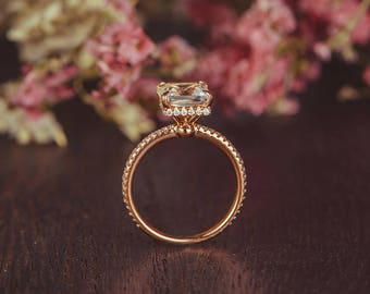 Rose Gold Engagement Ring Princess Cut White Topaz Ring Bridal 3/4 Eternity Birthstone Diamond Unique Antique Anniversary Women Promise Gift