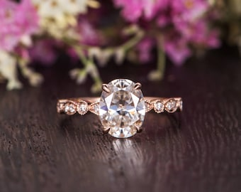 Art Deco Moissanite Ring Rose Gold Engagement Ring Diamond Retro Solitaire Oval Cut Woman Antique Bridal Promise Ring Anniversary Gift Ring