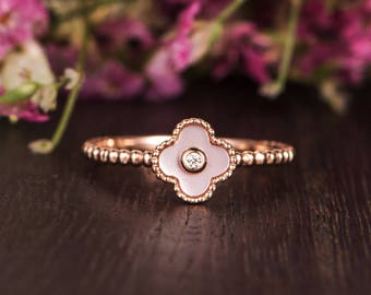 Rose Gold Pink Mother Of Pearl Engagement Ring Diamond Beaded Flower Floral Unique Bezel Set Eternity Friendship Gift