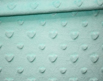 Minky hearts minkee fabric green Mint, 50 x 165 cm, very soft