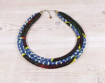 Wax fabric, 3 rows blue ethnic bib necklace