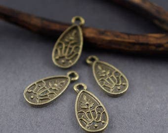 4 pcs - oval tribal ethnic charms drops, leaves in bronze metal - 18mm x 8mm