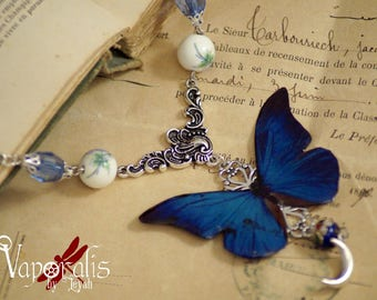 Necklace silver butterfly blue night morpho curiosity style entomology victorian beads - Night Flight