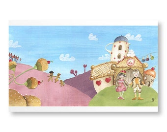 """Poetic illustration for children and baby, reproduced in limited edition from my collage """"Gourmet Wedding"""""""