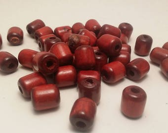 50 red or beige 18 x 14 mm tube wood beads