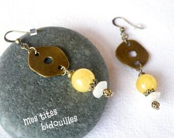 Ethnic earrings * stones and BRONZE * Phrenite and Moonstone