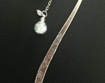 Bookmark in silver and its bubbles of yellow calcite and aventurine