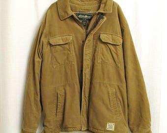 Vintage corduroy work coat - men's large, tan Eddie Bauer lined winter coat