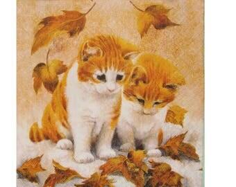 Set of 3 Red ANI031 kittens paper napkins