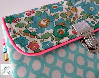 Purse PEP clasp - Mint print with water and Liberty Betsy Mint