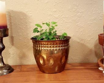 Medium sized vintage brass planter.  Weathered boho planter.