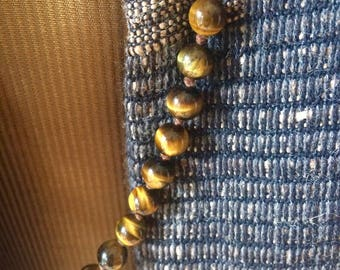 """Vintage Tigers Eye 8mm Bead 24"""" Hand Knotted Necklace"""
